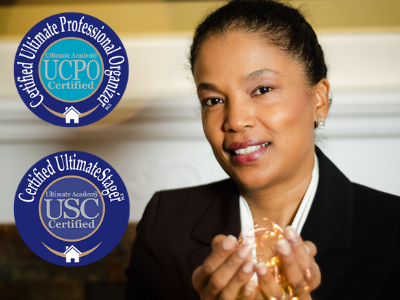 New Start Staging - Life Begins After New Start - Image of Sueanne Pacheco and her certifications - USC certification seal - UCPO certification seal